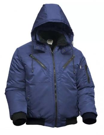 Куртка пилот мужская зимняя тёмно-синяя на стеганой подкладке. Уменьшенная фотография.