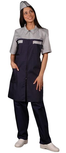 Халат официанта продавца темно синий мод.088