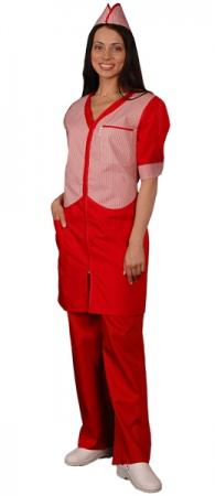 Халат официанта продавца красный мод.090. Уменьшенная фотография.