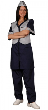 Халат официанта продавца темно синий мод.090. Уменьшенная фотография.