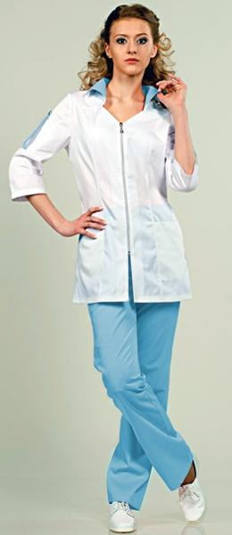 Медицинский костюм 8-574 Сатори белый / голубой