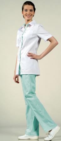 Костюм медицинский 8-887 белый + нежно-зеленый. Уменьшенная фотография.