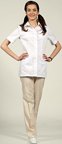 Женский костюм белый с кремовым модель 8-887