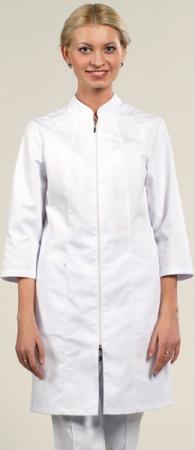 Медицинский халат белый  рукав 3/4 мод.1-910 Сатори. Уменьшенная фотография.