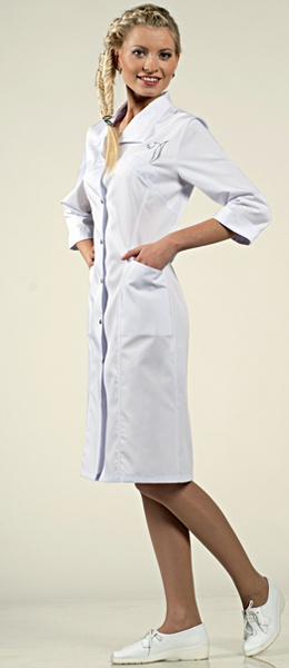 Белый женский халат 3/4 на клепках Камея 1-672 Сатори