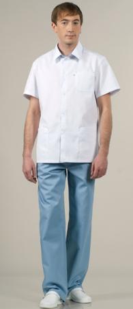 Костюм медицинский модель 854 белый с сизым. Уменьшенная фотография.