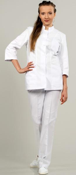 Модель 883 белый стильный костюм на пуговицах