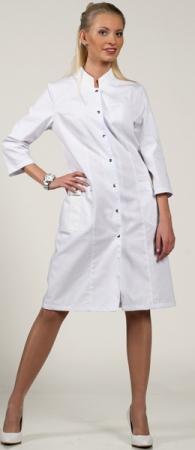 Белый медицинский халат 3/4 на кнопках 1-874. Уменьшенная фотография.