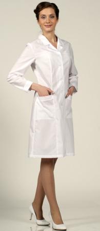 Халат медицинский женский классика 1-57 длинный рукав. Уменьшенная фотография.