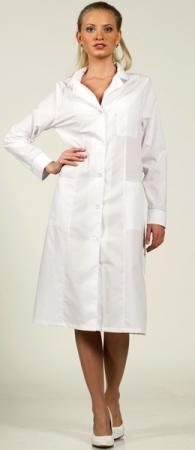 Халат медицинский 1-326 длинный рукав манжеты. Уменьшенная фотография.