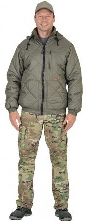 """Куртка """"Прага-Люкс"""" мужская с капюшоном, оливковая. Уменьшенная фотография."""